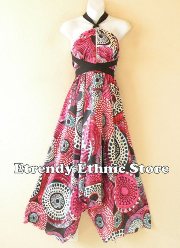 1D113 Pink Versatile Long Silk Multi Scarf Women Maxi Halter Dress Maternity