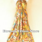 2D110 - Gold Versatile Silk Multi Wear Scarf Women Maxi Dress, Skirt, Maternity