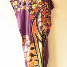 KD91 Purple Abstract Women Kaftan Caftan Batwing Tunic Dolman Maxi Dress M to XL