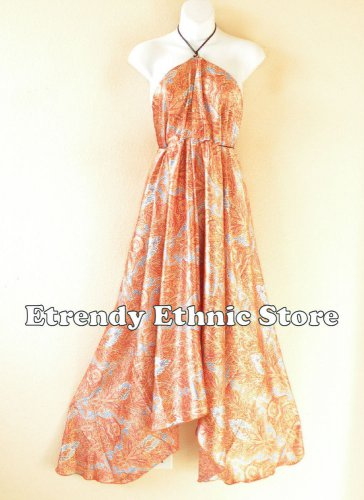 2D115 - Orange Versatile Silk Multi Wear Scarf Women Maxi Dress Skirt, Maternity