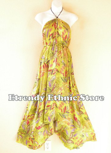 2D116 - Lime Versatile Silk Multi Wear Scarf Women Maxi Dress, Skirt, Maternity