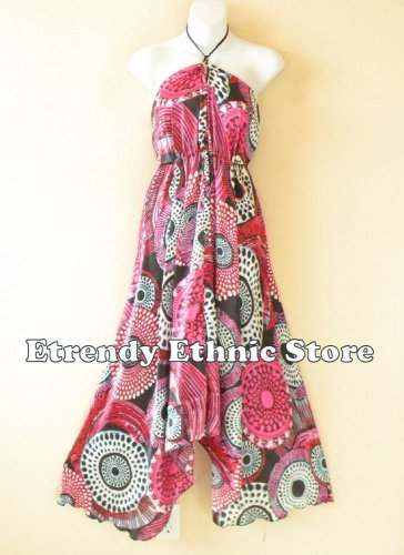 2D111 - Pink Versatile Silk Multi Wear Scarf Women Maxi Dress Skirt Maternity