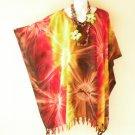 Tie Dye Plus Size Kaftan Tunic Gypsy Boho Dolman Women Poncho Blouse - 2X to 5X