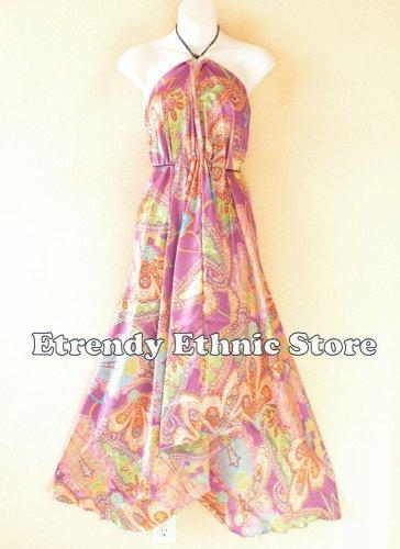 2D104 - Violet Versatile Silk Multi Scarf Women Maxi Long Dress, Skirt Maternity