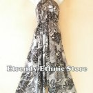 2D105 - Gray Versatile Silk Multi Wear Scarf Women Maxi Dress, Skirt, Maternity