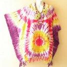 Tie Dye Plus Size Kaftan Tunic Gypsy Dolman Women Poncho Blouse Top - 2X to 5X