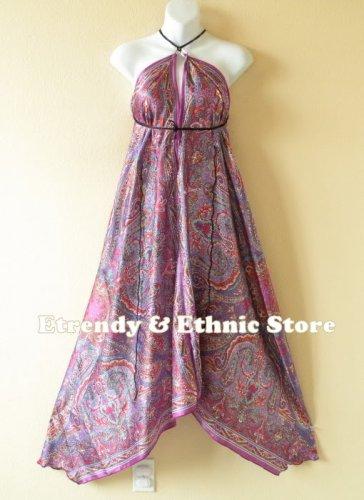 2D36 - Purple Paisley Silk Multi Wear Scarf Long Maxi Dress, Skirt, Maternity