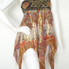 L132 Women Hippie Gypsy Embroidered Lurex Shimmering Blouse Top Skirt - S & M