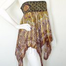 L138 Women Hippie Gypsy Embroidered Lurex Shimmering Blouse Top Skirt - S & M