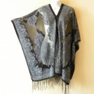 Black Silver Convertible Chiffon Women Sheer Poncho Tunic Scarf / Top / Cover up