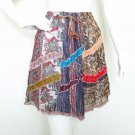 Women Bohemian Hippie Peasant Print Patchwork Mini Skirt with Mirror - S & M