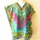Turquoise Kaftan Women Viscose Batwing Poncho Empire Tunic Blouse Top - 2X / 4X