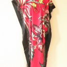 KD58 Red Floral Women Kaftan Caftan Batwing Hippie Tunic Maxi Long Dress L to 2X