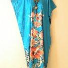 KD55 Aqua Floral Women Kaftan Caftan Batwing Hippie Tunic Maxi Dress L to 2X