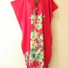 KD56 Red Floral Women Kaftan Caftan Batwing Summer Dolman Maxi Dress L to 2X