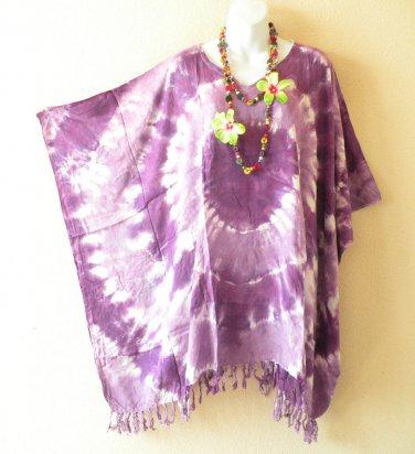 KB105 Tie Dye Purple Plus Women Batik Kaftan Poncho Dolman Tunic Top - XL to 3X