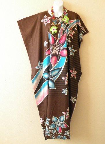KD112 Batik Women Kaftan Caftan Hippie Tunic Abaya Dolman Maxi Dress L to 1X