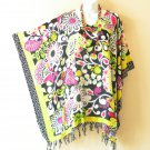 KB93 Abstract Plus Size Women Batik Kaftan Poncho Dolman Tunic Top - XL to 3X
