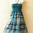 TS12 Silk Halter Women Bohemian Tube Smocked Broomstick Dress / Skirt - XS to XL