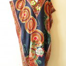 EL6 Kaftan Abstract Printed Viscose Batwing Dolman Empire Maxi Tunic -XL 1X & 2X