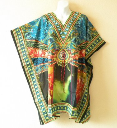 Kaftan Digital Printed Viscose Batwing Dolman Empire Tunic Top - 2X, 3X or 4X