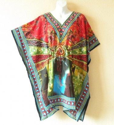 Red Kaftan Digital Printed Viscose Batwing Women Empire Tunic Top - 3X / 4X