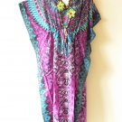 EL9 Floral Kaftan Digital Printed Viscose Batwing Empire Maxi Tunic - XL 1X & 2X