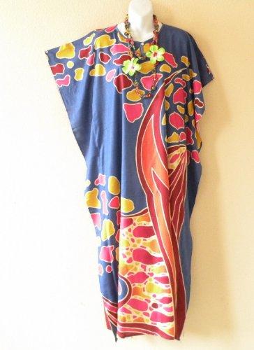 K90 Blue Batik Women Kaftan Caftan Hippy Tunic Abaya Boho Gown Maxi Dress S to L