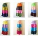 Bohemian Women Tie & Dye Boho Hippie Gypsy 4 Tiered Patchwork Skirt
