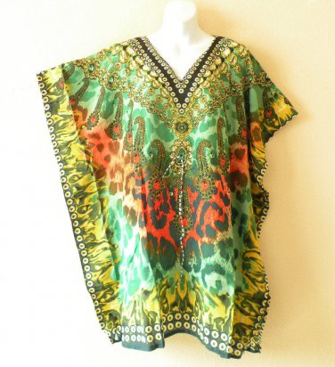 Green Kaftan Digital Printed Viscose Batwing Dolman Empire Tunic Top - 2X or 3X