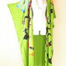 Green Batik Cardigan Duster Kaftan Batwing Plus Women Hippy Jacket - up to 5X