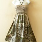 TS26 Women Silk Shimmer Halter Tube Smocked Broomstick Dress / Skirt - XS to XL