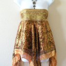 Bronze Hippie Gypsy Embroidered Lurex Sexy Shimmering Blouse Top / Skirt - S & M