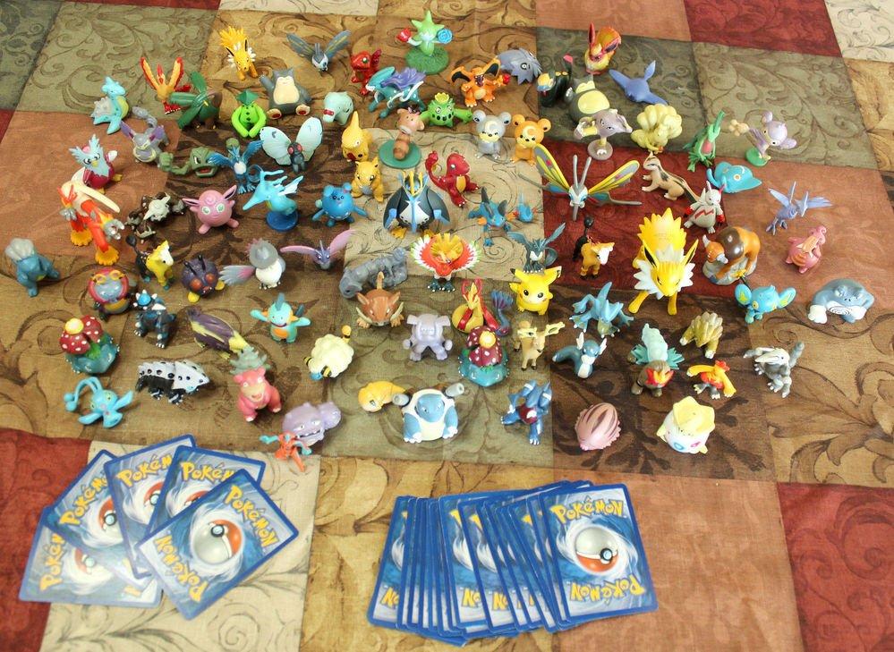 Pokemon Trading Card 5 Rare Holofoil & 50 non + 1 or 2 Figure Random Lots! NM-PL