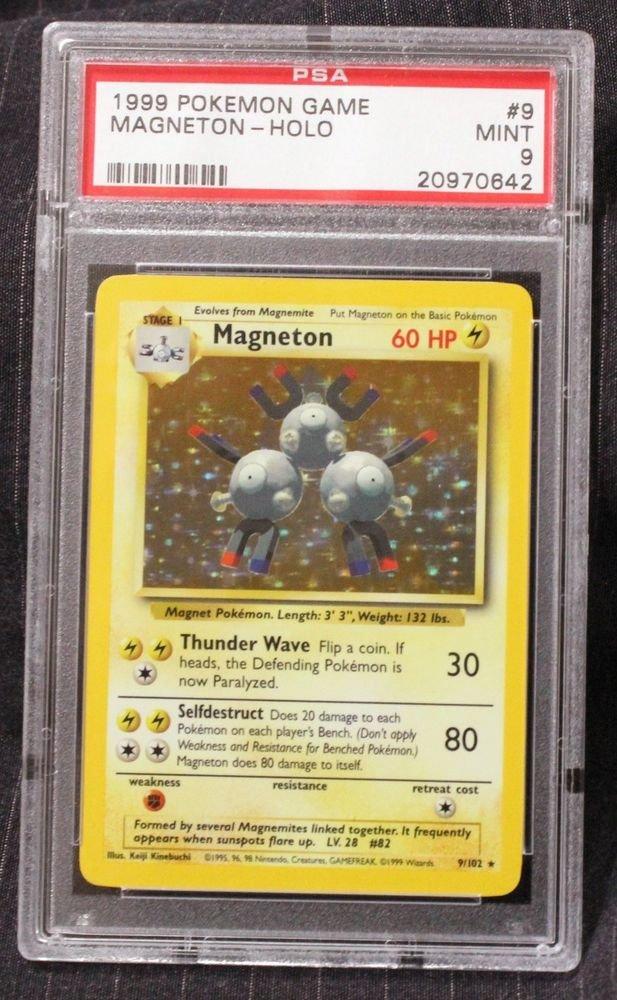 Pokemon Card Magneton 9/102 Base Set Holofoil PSA Graded 9 Mint!