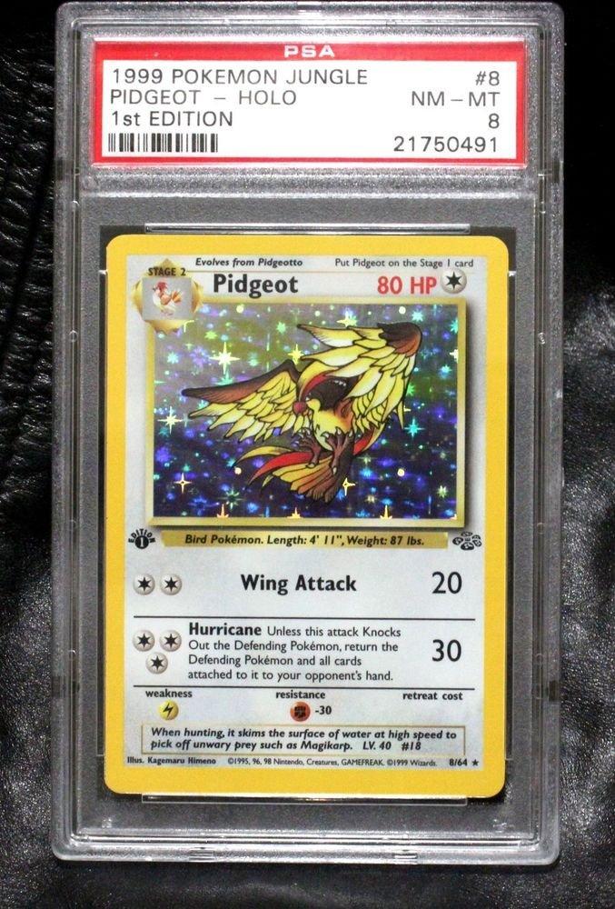 PSA 8 Graded First Edition Holofoil Jungle Set TCG Pokemon Cards