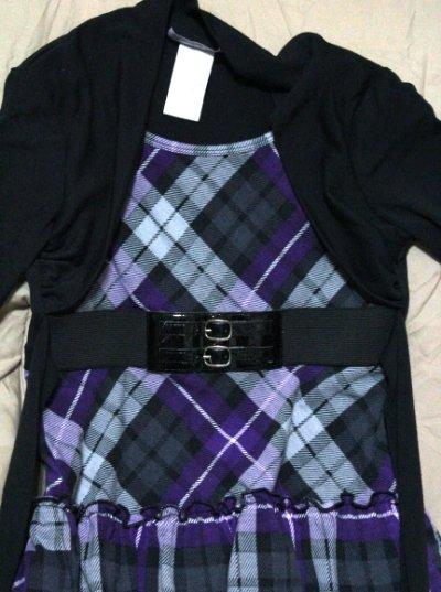 Disorderly Kids Plaid Purple Black Short Belt Jacket Dress Girl's Size 7
