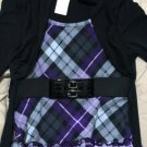 Disorderly Kids Plaid Purple Black Short Belt Jacket Dress Girl's Size 7