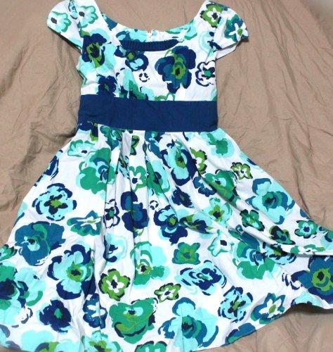Jillian Jones Sun Dress Blue Green White Floral Mini Sleeveless Size 4