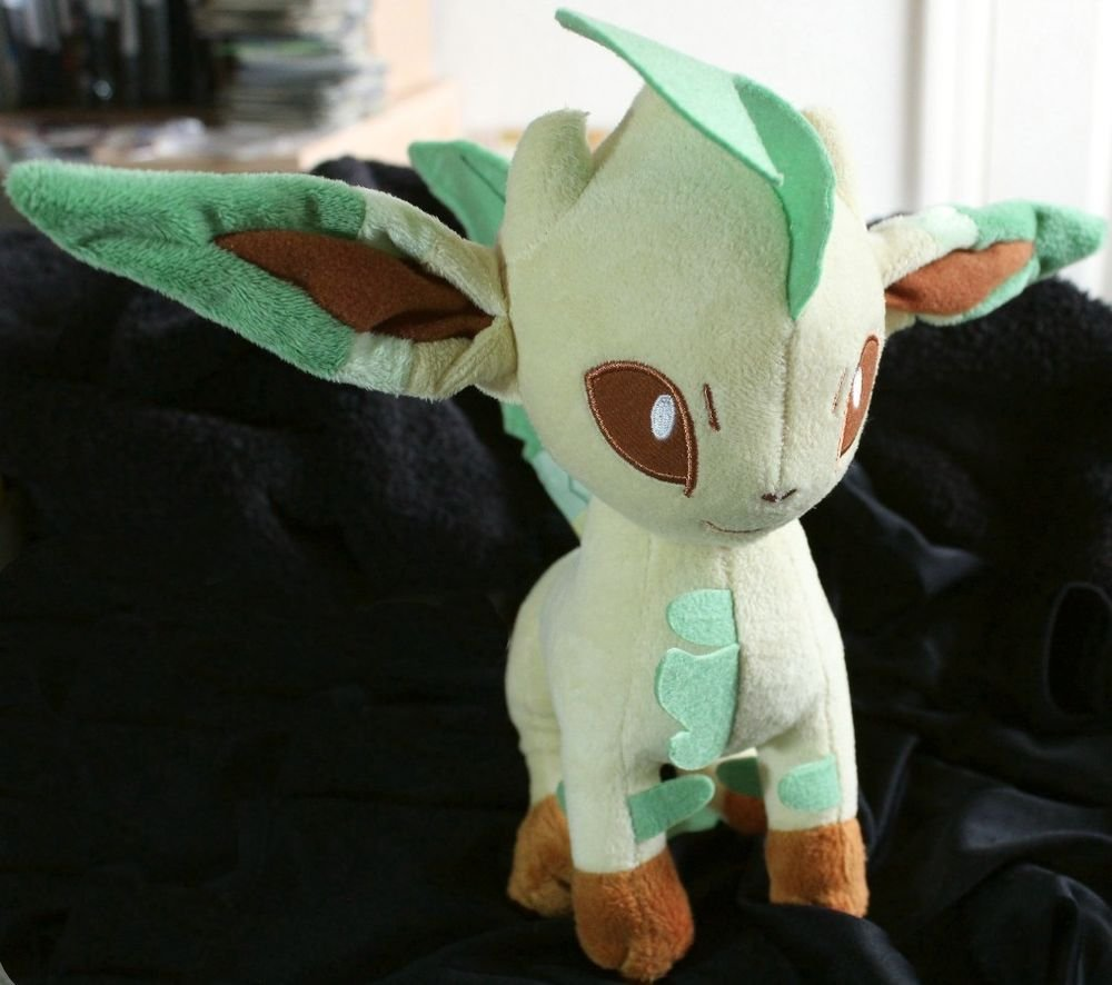 Original Takara Tomy Standing Leafeon Pokemon Plush Toy Doll + Free Cards!