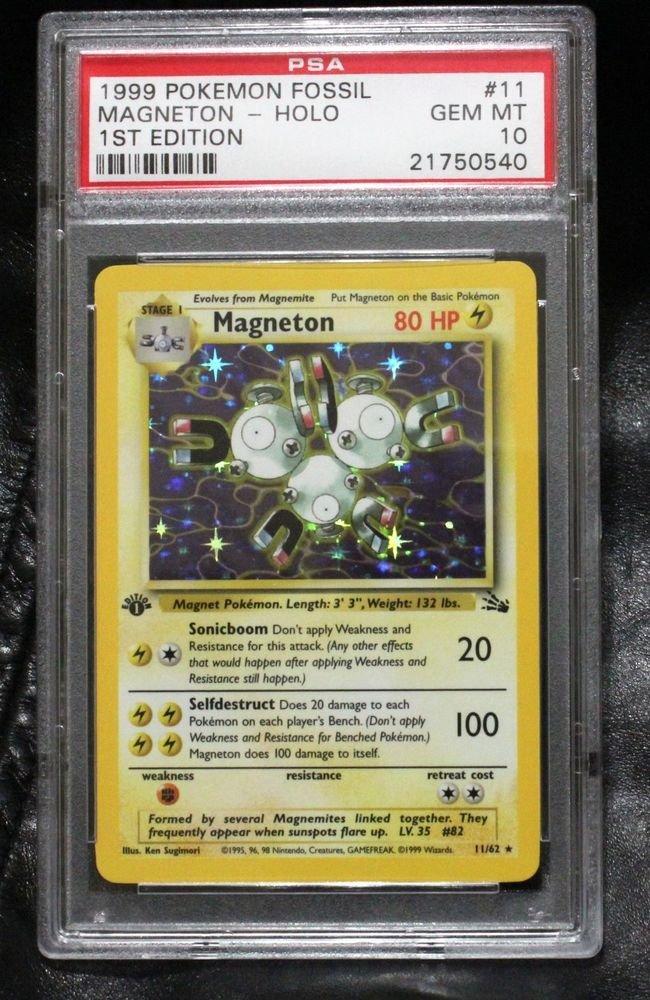 Pokemon Card First Edition Magneton 11/62 Fossil Set PSA Graded 10 Gem Mint!