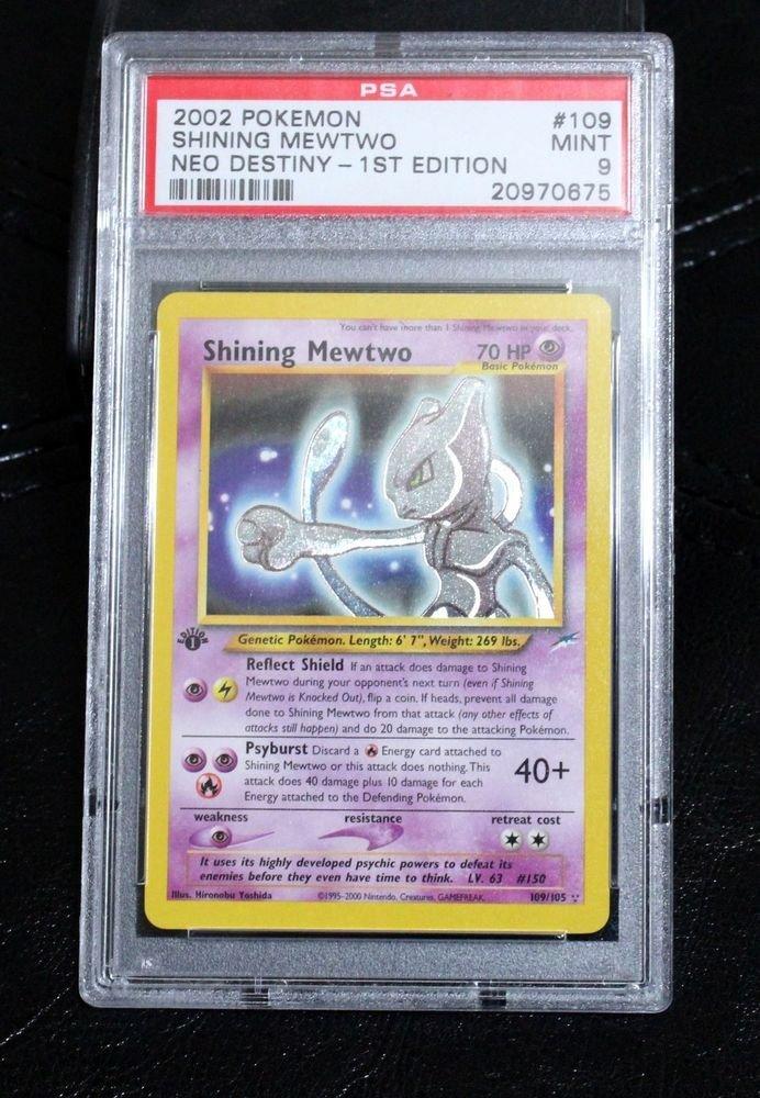 PSA 9 Graded First Edition Shining Mewtwo 109/105 Neo Destiny Pokemon Card TCG