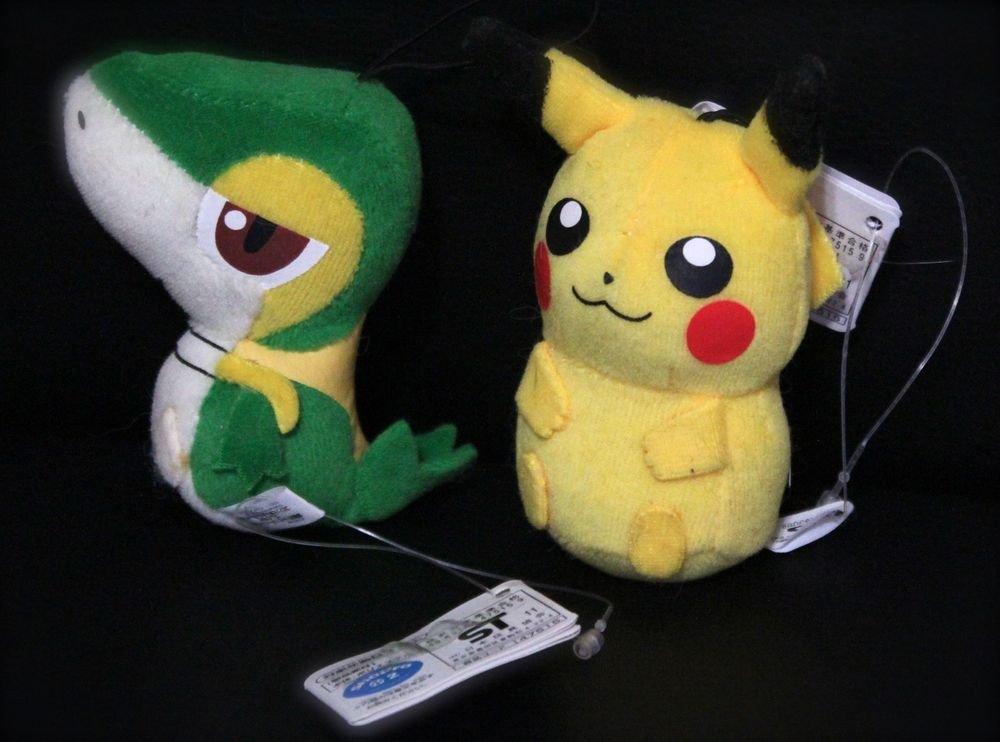 Best Wishes Banpresto Snivy & Pikachu Pokemon Plush Toy Doll NEW! + Free Cards!