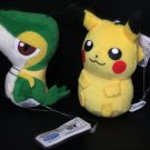 Best Wishes Banpresto Snivy & Pikachu Pokemon Plush Toy Doll NEW! + Free Cards!