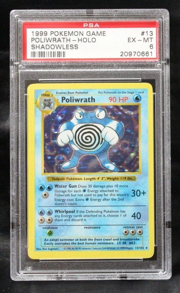 Pokemon Card Shadowless Poliwrath 13/102 Base Set PSA Graded 6 Excellent/Mint!