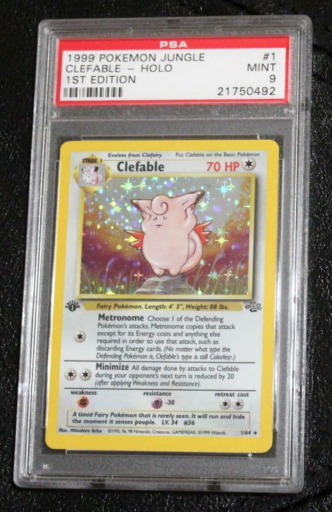 Pokemon Card First Edition Clefable 1/64 Jungle Set Holofoil PSA Graded 9 Mint!