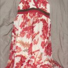 Jonathan Martin Sun Dress Red Brown White Tie Behind Floral 100% Silk Size 10