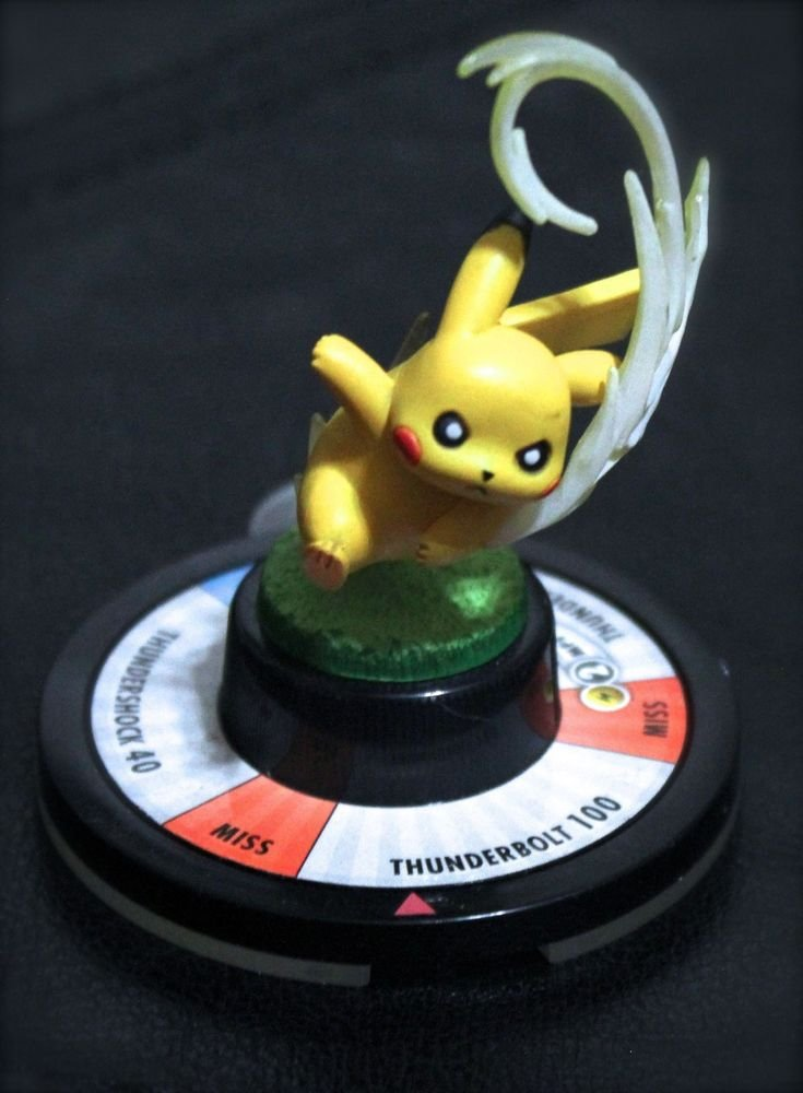 Pokemon Pikachu Trading Figure Game Thunder Bolt Collectible Toy + Free Card!