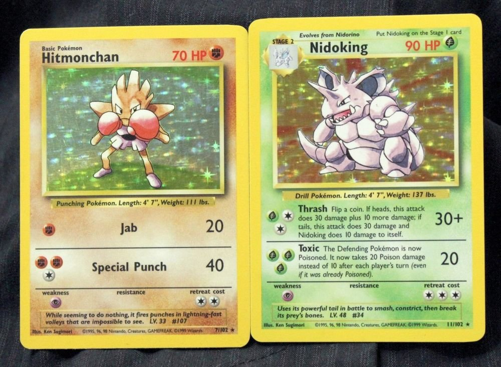 Nidoking 11/102 and Hitmonchan 7/102 NM TCG Base Set Pokemon Cards +BONUS!
