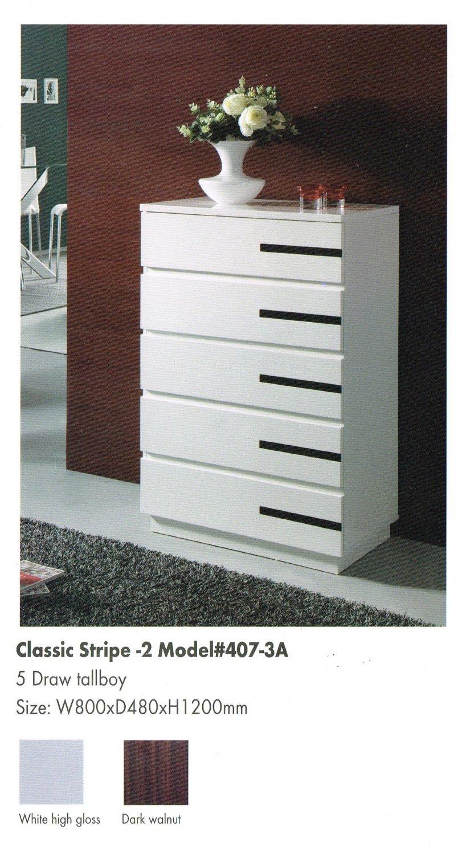Classic Stripe 5 Drawer Tallboy 407-3A